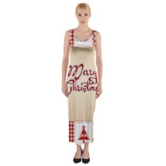 Christmas xmas Patterns Pattern Fitted Maxi Dress
