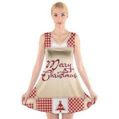 Christmas Xmas Patterns Pattern V Neck Sleeveless Skater Dress