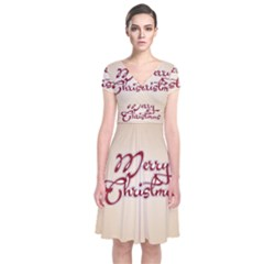 Christmas xmas Patterns Pattern Short Sleeve Front Wrap Dress