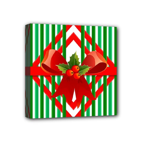 Christmas Gift Wrap Decoration Red Mini Canvas 4  x 4