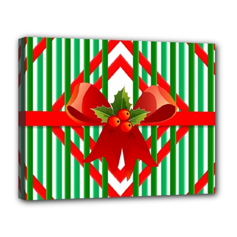 Christmas Gift Wrap Decoration Red Canvas 14  x 11
