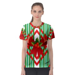 Christmas Gift Wrap Decoration Red Women s Sport Mesh Tee