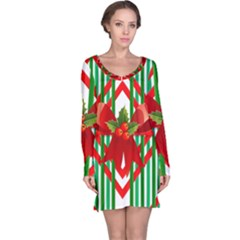 Christmas Gift Wrap Decoration Red Long Sleeve Nightdress