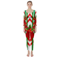 Christmas Gift Wrap Decoration Red Long Sleeve Catsuit