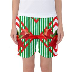 Christmas Gift Wrap Decoration Red Women s Basketball Shorts