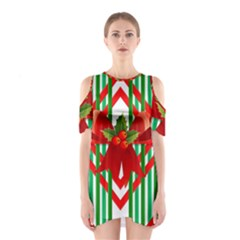 Christmas Gift Wrap Decoration Red Shoulder Cutout One Piece