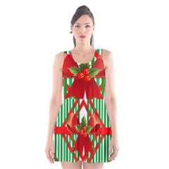 Christmas Gift Wrap Decoration Red Scoop Neck Skater Dress