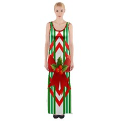 Christmas Gift Wrap Decoration Red Maxi Thigh Split Dress