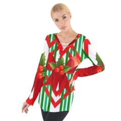 Christmas Gift Wrap Decoration Red Women s Tie Up Tee