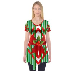 Christmas Gift Wrap Decoration Red Short Sleeve Tunic