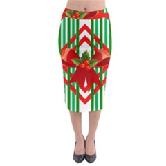 Christmas Gift Wrap Decoration Red Midi Pencil Skirt