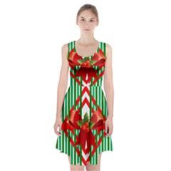 Christmas Gift Wrap Decoration Red Racerback Midi Dress