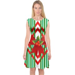 Christmas Gift Wrap Decoration Red Capsleeve Midi Dress
