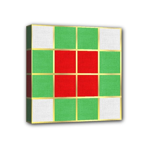 Christmas Fabric Textile Red Green Mini Canvas 4  x 4