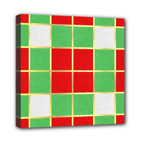 Christmas Fabric Textile Red Green Mini Canvas 8  x 8