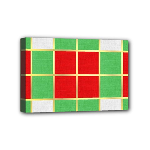 Christmas Fabric Textile Red Green Mini Canvas 6  x 4