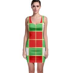 Christmas Fabric Textile Red Green Sleeveless Bodycon Dress