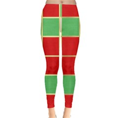 Christmas Fabric Textile Red Green Leggings