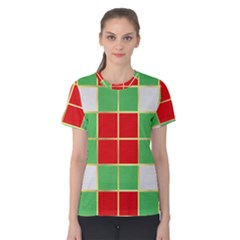 Christmas Fabric Textile Red Green Women s Cotton Tee