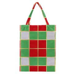Christmas Fabric Textile Red Green Classic Tote Bag