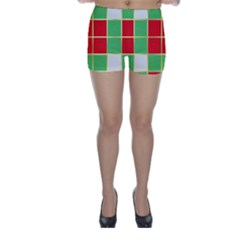 Christmas Fabric Textile Red Green Skinny Shorts