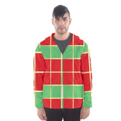 Christmas Fabric Textile Red Green Hooded Wind Breaker (men)
