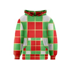Christmas Fabric Textile Red Green Kids  Pullover Hoodie