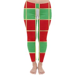 Christmas Fabric Textile Red Green Classic Winter Leggings