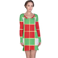 Christmas Fabric Textile Red Green Long Sleeve Nightdress