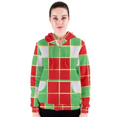 Christmas Fabric Textile Red Green Women s Zipper Hoodie