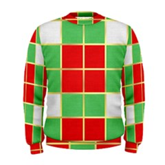Christmas Fabric Textile Red Green Men s Sweatshirt