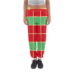 Christmas Fabric Textile Red Green Women s Jogger Sweatpants
