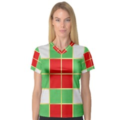Christmas Fabric Textile Red Green Women s V Neck Sport Mesh Tee