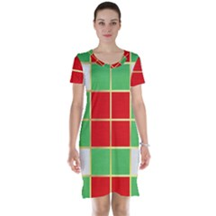 Christmas Fabric Textile Red Green Short Sleeve Nightdress