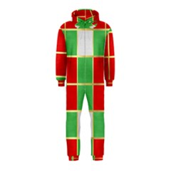Christmas Fabric Textile Red Green Hooded Jumpsuit (Kids)