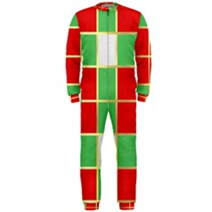 Christmas Fabric Textile Red Green OnePiece Jumpsuit (Men)