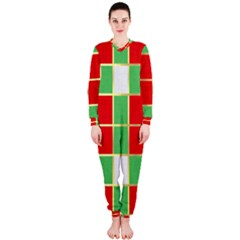 Christmas Fabric Textile Red Green OnePiece Jumpsuit (Ladies)