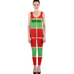 Christmas Fabric Textile Red Green Onepiece Catsuit