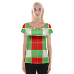 Christmas Fabric Textile Red Green Women s Cap Sleeve Top