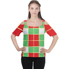 Christmas Fabric Textile Red Green Women s Cutout Shoulder Tee