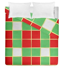 Christmas Fabric Textile Red Green Duvet Cover Double Side (queen Size)
