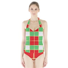 Christmas Fabric Textile Red Green Halter Swimsuit