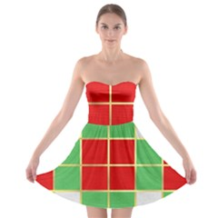 Christmas Fabric Textile Red Green Strapless Bra Top Dress