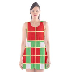 Christmas Fabric Textile Red Green Scoop Neck Skater Dress