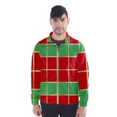 Christmas Fabric Textile Red Green Wind Breaker (Men)