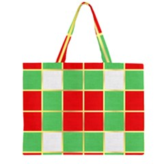 Christmas Fabric Textile Red Green Large Tote Bag