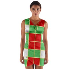 Christmas Fabric Textile Red Green Wrap Front Bodycon Dress
