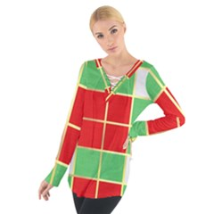 Christmas Fabric Textile Red Green Women s Tie Up Tee