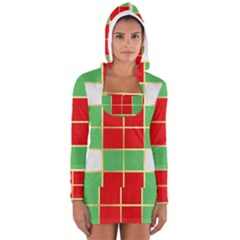 Christmas Fabric Textile Red Green Women s Long Sleeve Hooded T-shirt