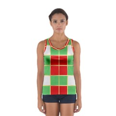 Christmas Fabric Textile Red Green Women s Sport Tank Top